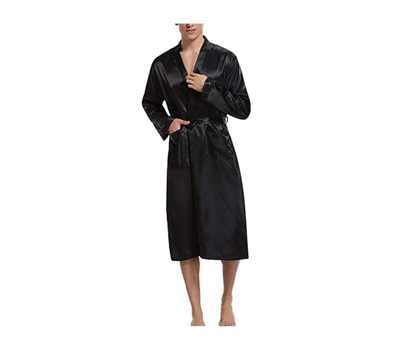 Men Kimono Nightwear Satin Robe Pyjamas Room Home Clothes Bathrobe Long Sleeve Satin Soft Silky Sleepwear