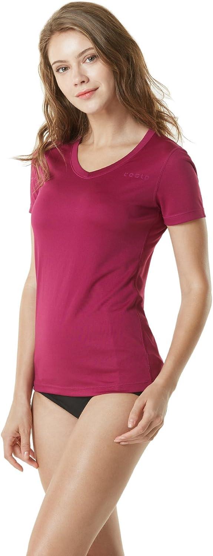 TSLA Women's UPF 50+ V-Neck Swim Shirts, UV Sun Protection Short Sleeve Rashguard, Outdoor Summer Athletic Workout Tops