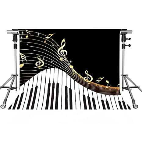 Meets 10x7ft Abstract Photography Backdrop Black and White Piano Keys Music  Symbols Background Themed Party Photo Booth YouTube Backdrop GEMT371