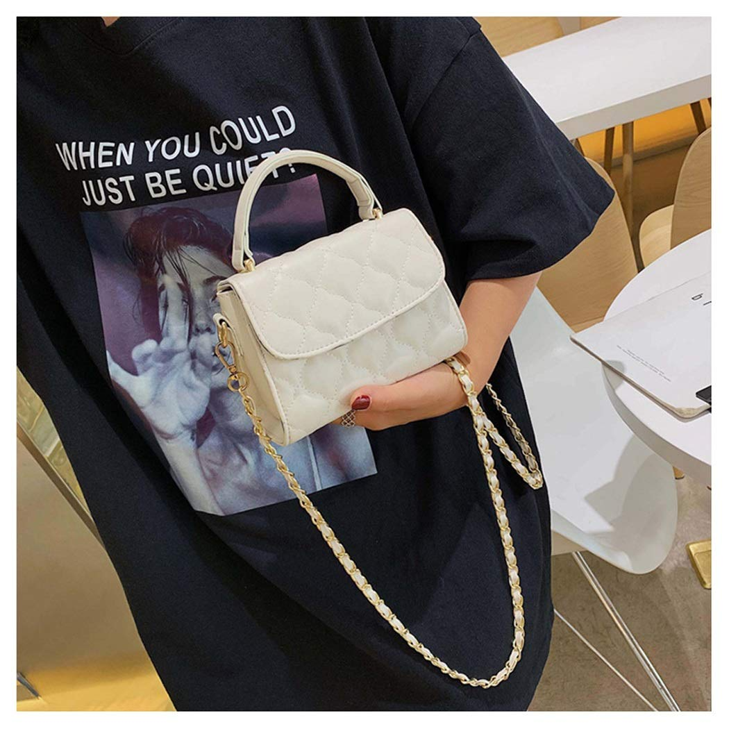 Color : Beige, Size : 15.517.5127cm OUSHINA New 2019 Summer Small Fresh Messenger Bag Foreign Gas Wild Shoulder Bag Chain Bag
