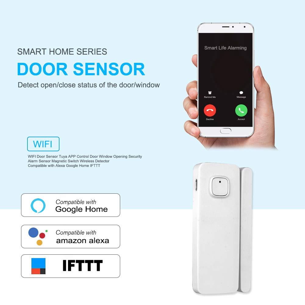 OWSOO WiFi Smart Door Sensor Tuya APP Controllo della porta Apertura Della Finestra Sensore Di Allarme Di Sicurezza Interruttore Magnetico Rilevatore wireless IFTTT Batteria ricaricabile integrata