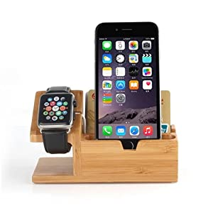 Cell Phone Wood Charging Dock Apple Watch Charging Station Stand Holder for Watch/Smart Phone/iPhone/iPad