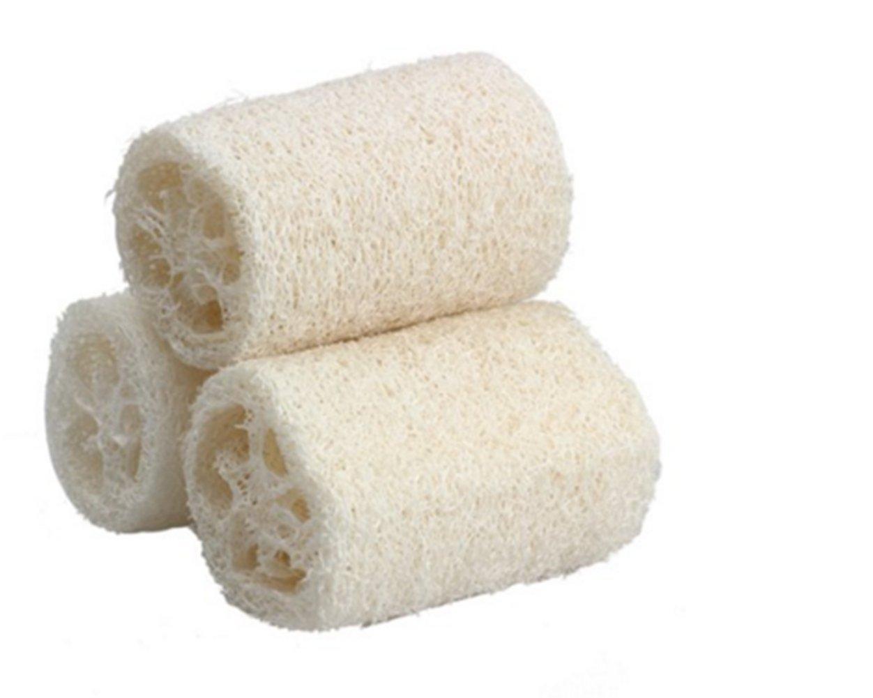 Qingsun 3 pcs Natural Loofah Bath Body Shower Loofahs Bath Rub Sponge Scrubber