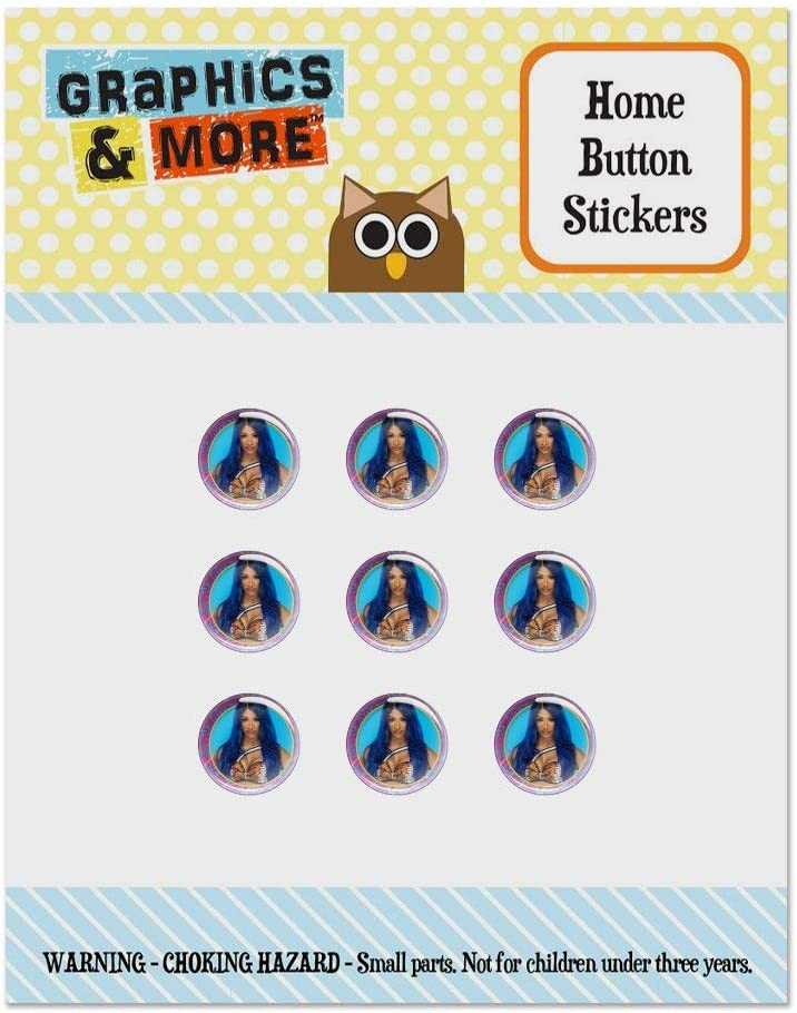 WWE Sasha Banks Legit Boss Set of 9 Puffy Bubble Home Button Stickers Fit Apple iPod Touch, iPad Air Mini, iPhone 5/5c/5s 6/6s 7/7s Plus