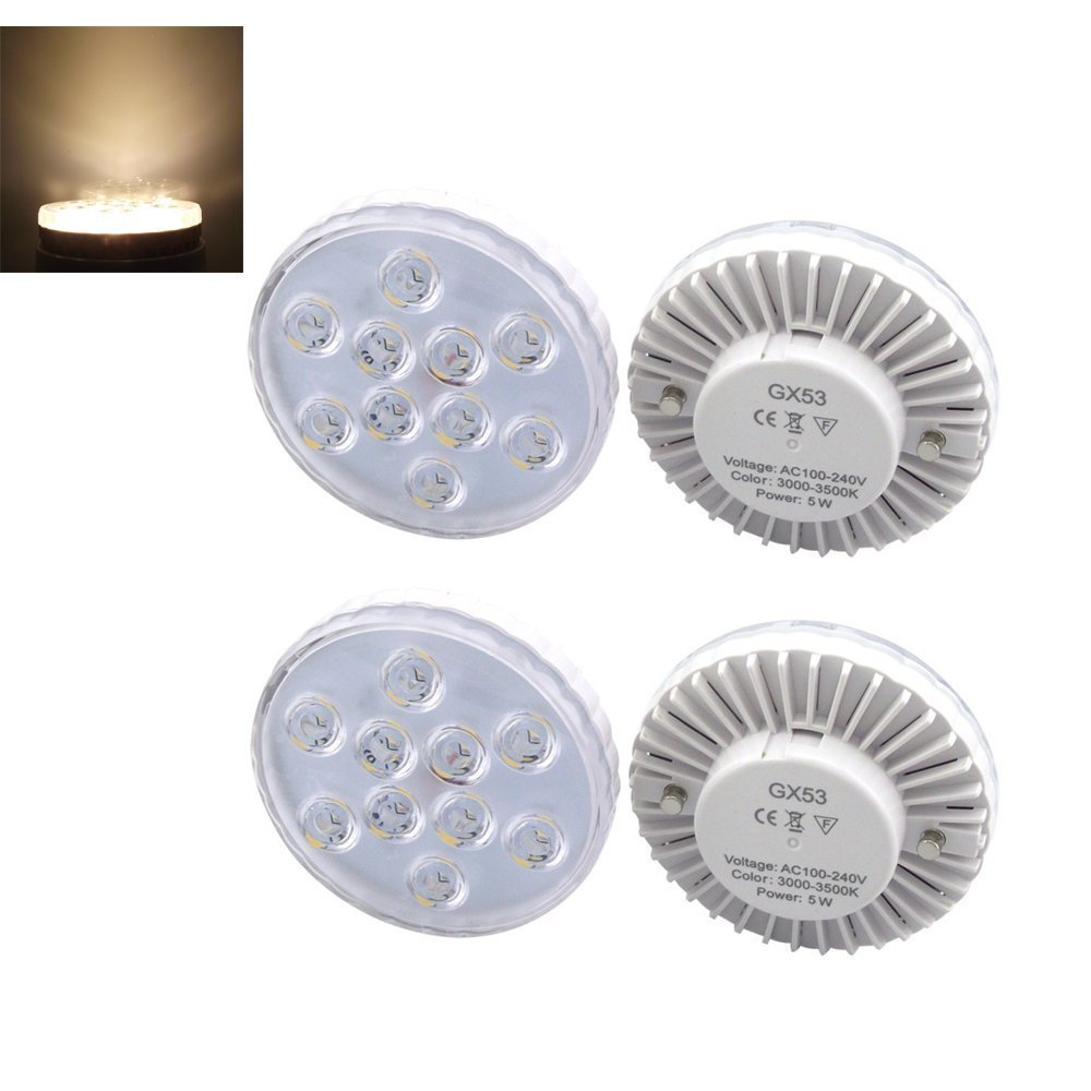 Bonlux 4-Packs 5W GX53 LED Under Cabinet Lighting Warm White 3000K High Brigh...