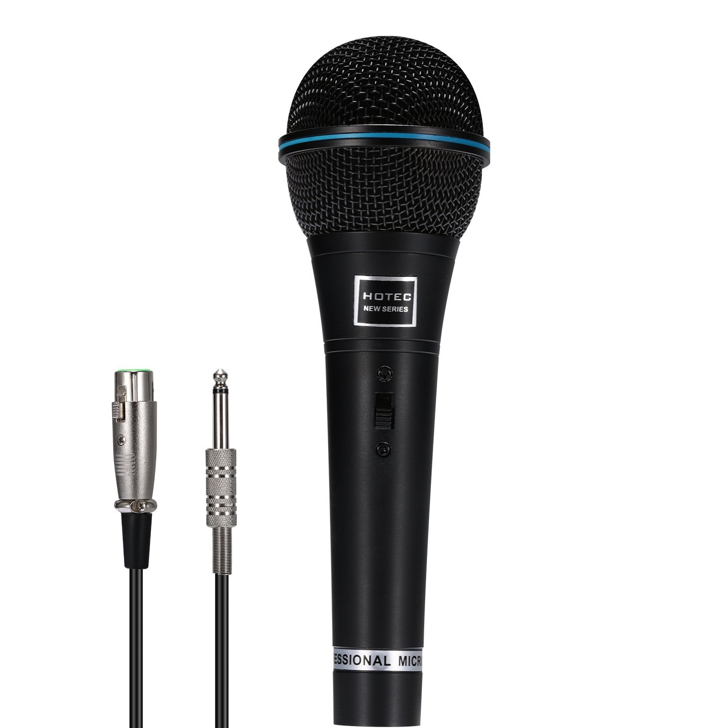 Hotec Professional Vocal Dynamic Handheld Microphone with 19ft Detachable XLR Cable and ON/OFF Switch (Metal Black)