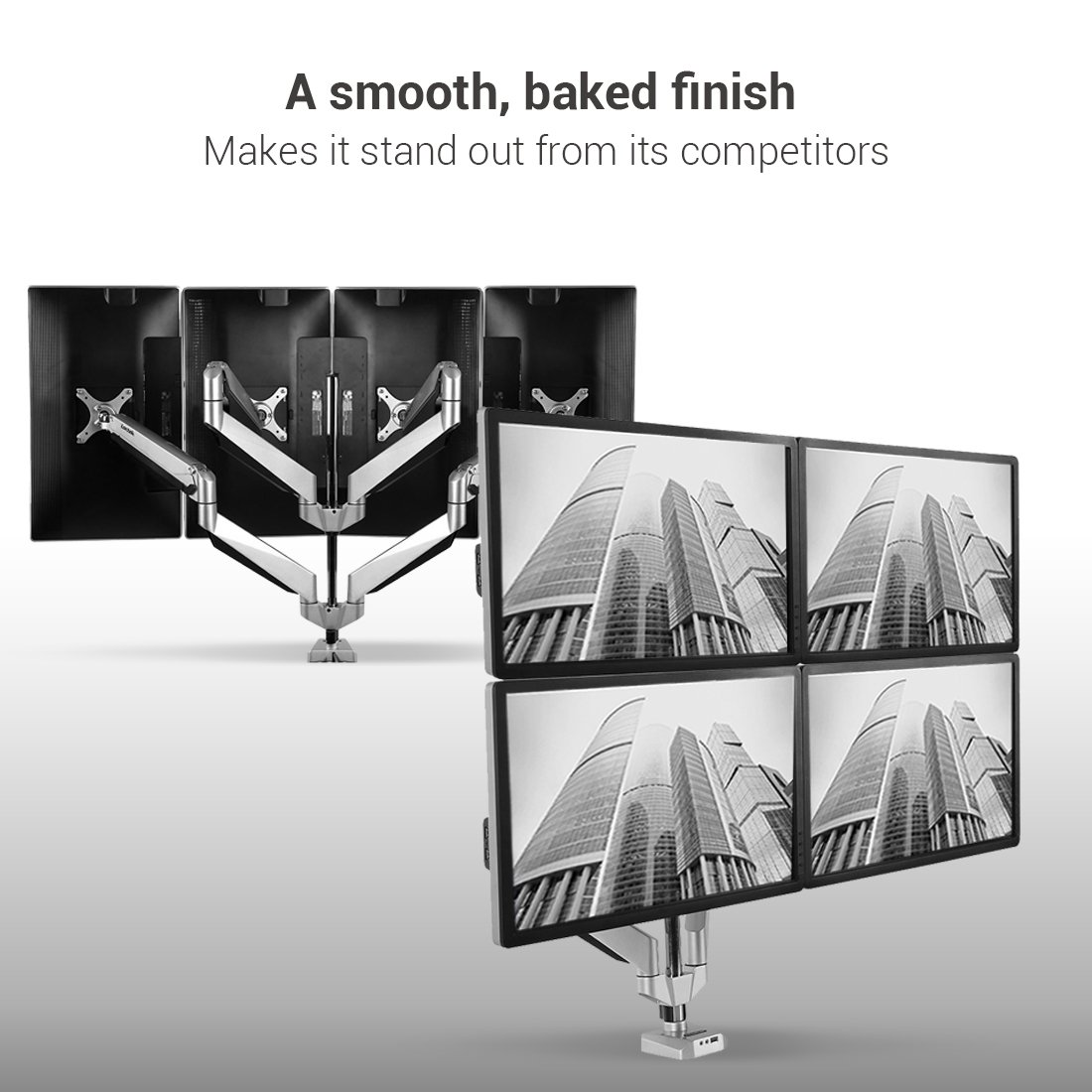 Loctek D7Q Swivel Quad Arm Monitor Mounts Stand for 10''-27'' Computer Screen, Ergonomic Heavy Duty Height Adjustable Desk Mount by Loctek (Image #4)