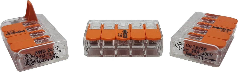 transparent 25 pi/èces Wago borne de raccordement 5 fils avec levier 0,2-4 qmm petit mod/èle