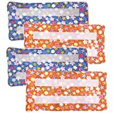 Xanitize Reusable Washable Eco Friendly Pads for The Swiffer Wet Jet | Hook & Loop Attachment (Blue & Orange Flower) 4-Pack