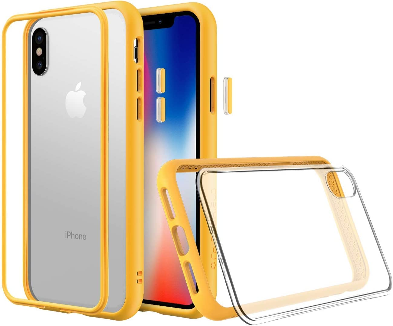 Amazon Com Rhinoshield Modular Case Compatible With Iphone X Mod Nx Customizable Shock Absorbent Heavy Duty Protective Cover Shockproof Yellow Bumper With Clear Back