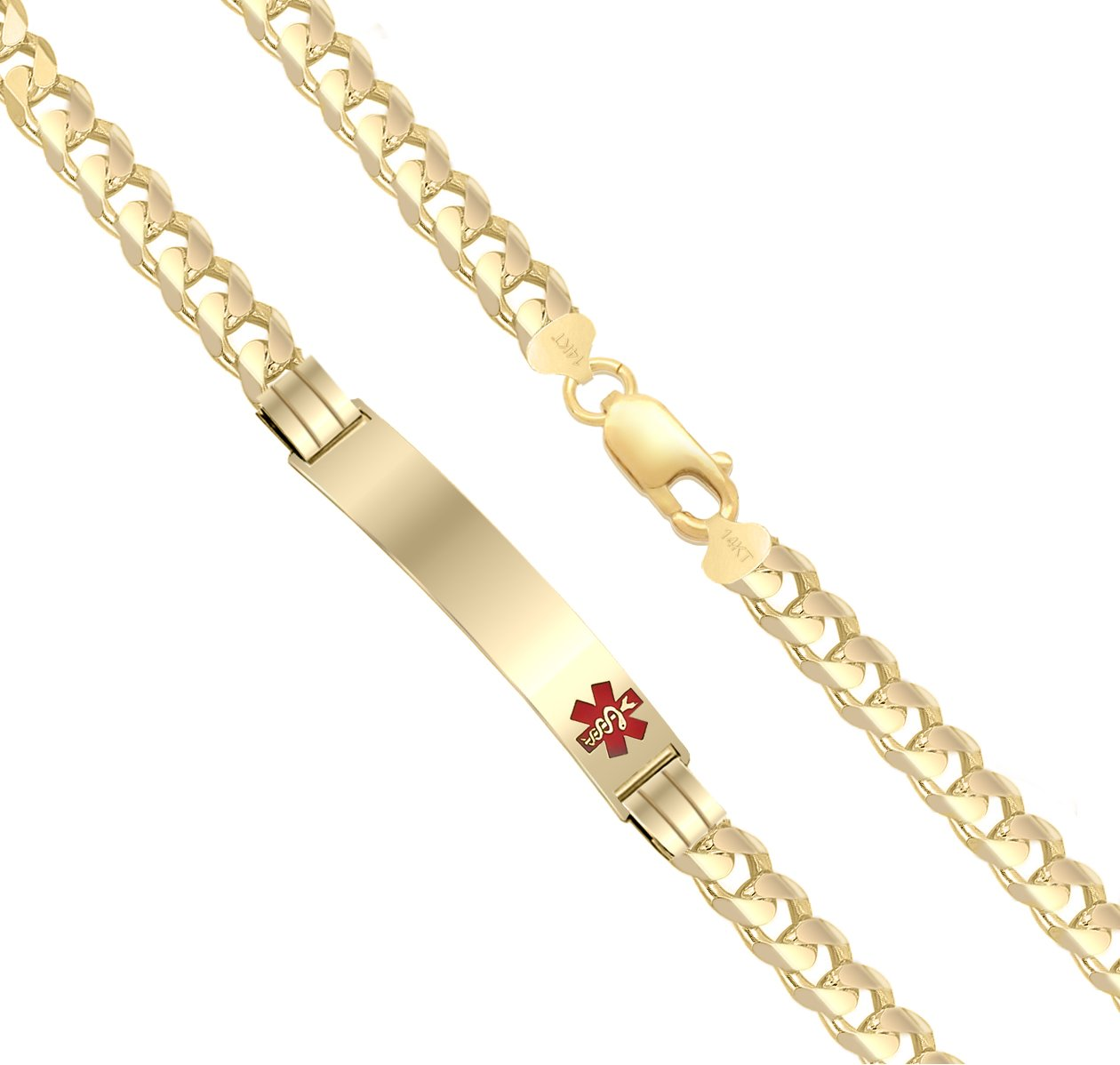 US Jewels And Gems Customizable Ladies 14k Yellow Gold 5.5mm Curb Medical Alert ID Bracelet with Free Engraving, 5.5in