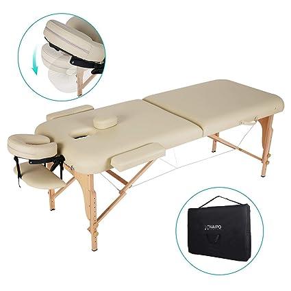 Lettino Massaggio Professionale Pieghevole.Naipo Lettino Massaggio Professionale Lettino Per Massaggi Pieghevole 2 Zone Facile Da Installare Con Struttura In Legno Faggio Tedesco Custodia Per