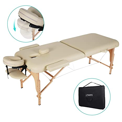 Naipo Massageliege Klappbar mit 2 Zonen tragbaren höhenverstellbaren Holzfüßen Einfache Installation Ergonomische Kopfstütze