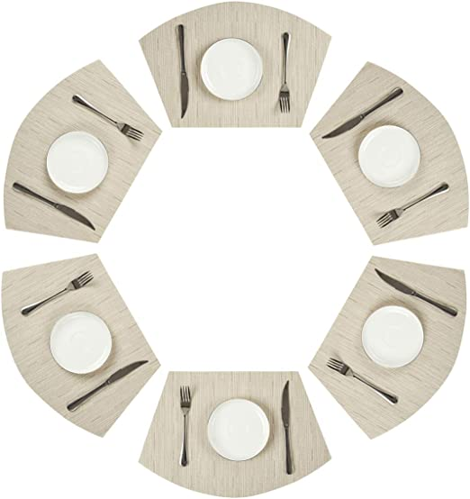 Amazon Com Pauwer Set Of 6 Wedge Placemats For Round Dining Table Woven Vinyl Washable Plastic Round Table Placemats Wipe Clean Set Of 6 White Home Kitchen