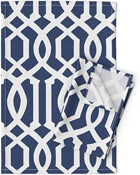 Roostery Tea Towels Imperial Navy Blue White Trellis Lattice Classic Traditional Print Linen Cotton Tea Towels Set Of 2 Home Kitchen