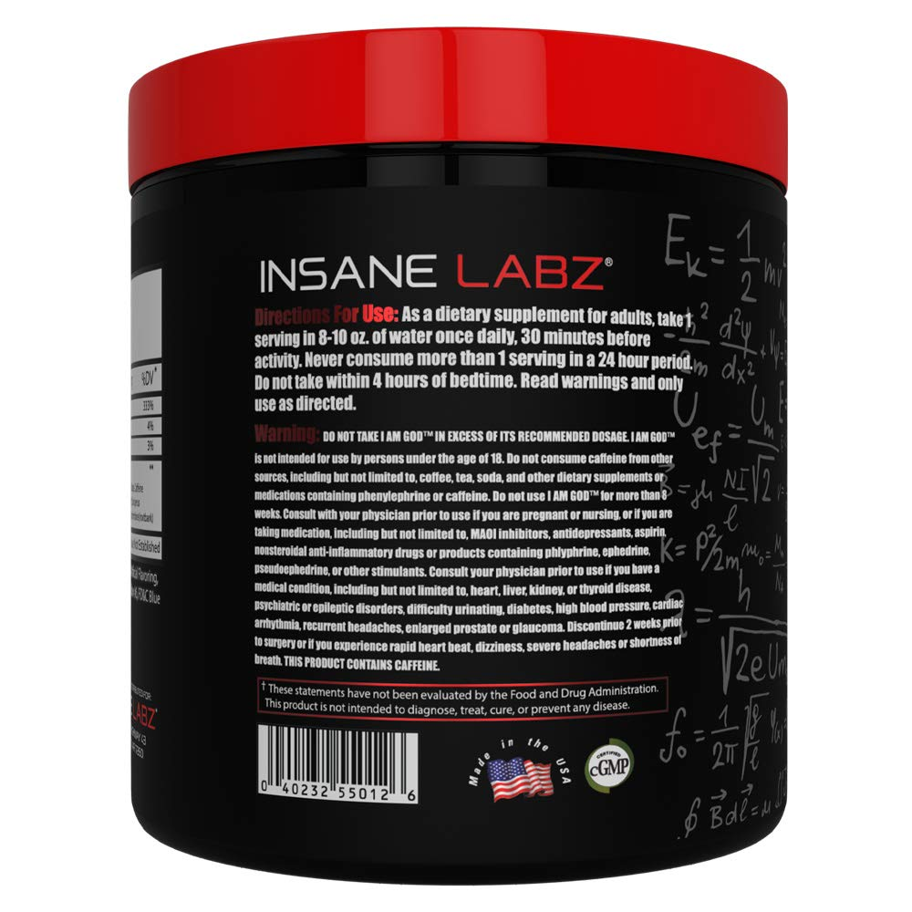 Insane Labz I am God Pre Workout, High Stim Pre Workout Powder Loaded with Beta Alanine Creatine DMAE Bitartrate Fueled by AMPiberry, Energy Focus Endurance Muscle Growth,25 Srvgs,Drink Ye All of It by Insane Labz (Image #3)