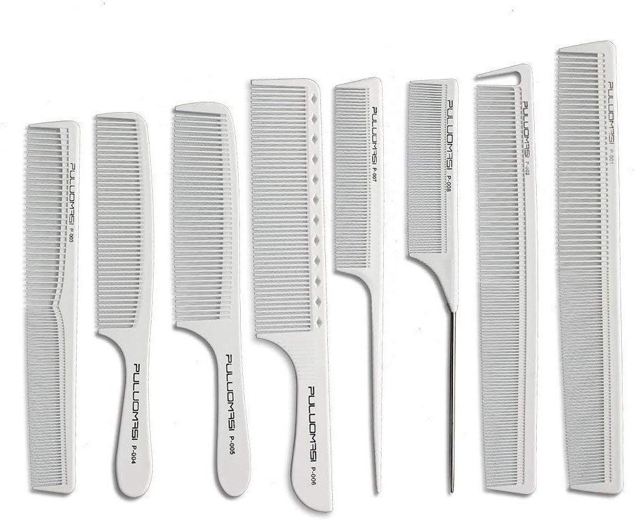 Peine de carbono blanco de alta temperatura antiestático para el pelo, 8 piezas para mujeres, hombres y niños