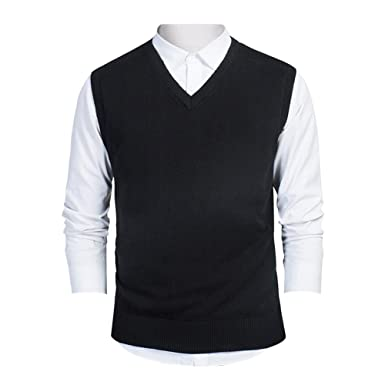TopTie Mens Business Solid Color Plain Sweater Vest, Cotton Fit ...