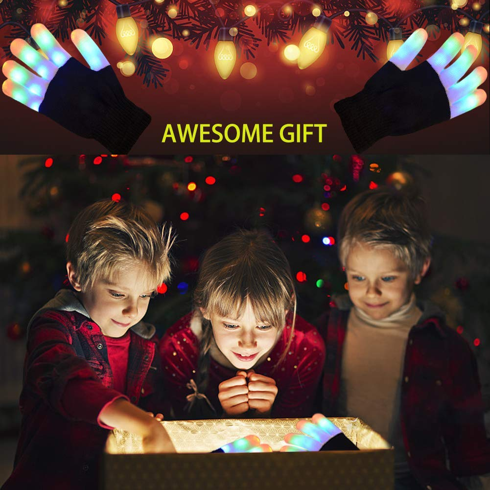 Ausein Kids LED Finger Gloves Children LED Flashing Light Gloves 3 Colors 6 Light Modes Colorful Glow Light Up Rave Gloves for Kids with Extra Batteries