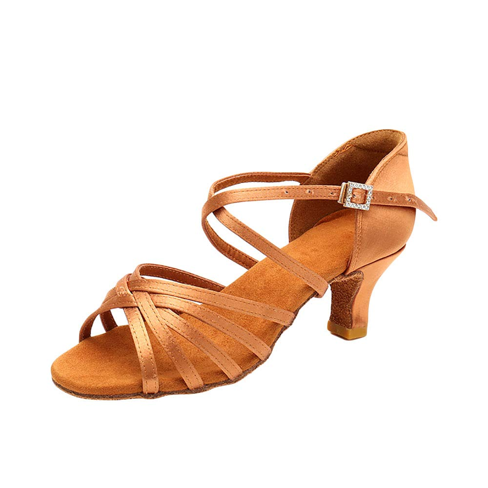 UNNIAO Ballroom Dance Shoes Women Latin Shoes Flared Heel Sandals for Salsa Tango Dancing Shoes Gold//Black
