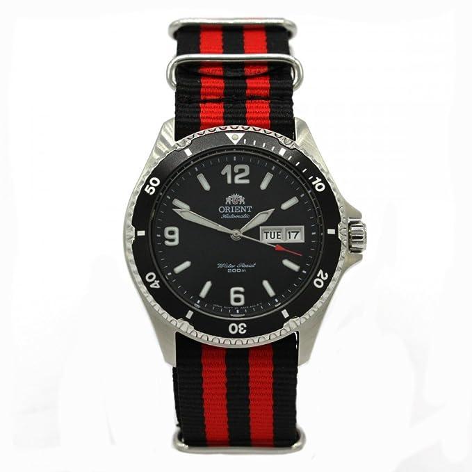 Orient Mako II 5 Deep - Reloj de Buceo automático Día Fecha Reloj de hombre OTAN faa02001b: Amazon.es: Relojes