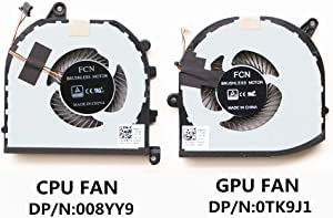 HK-PART Fan Replacement for Dell XPS 15-9570 CPU Gpu Cooling Fan Set TK9J1 08YY9
