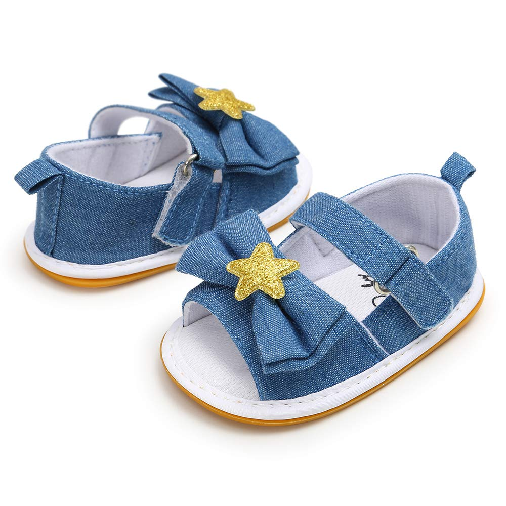 KaKaKiKi Baby Toddler Infant Girl Sandal Rubber Soft Sole Flower Bow Knot Non Slip Closed Toe Outdoor Toddler Summer Princess Dress Flats Shoe Crib First Walker Shoe