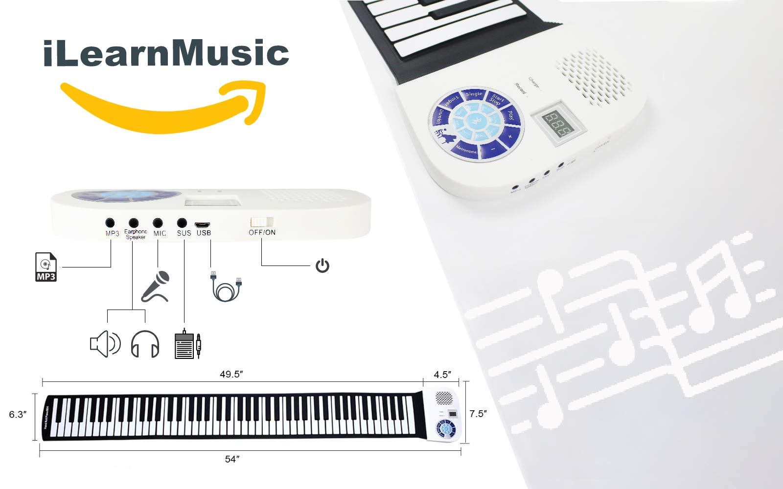 iLearnMusic Roll Up Piano, Premium Grade Silicone, Built-in Speakers - Educational Piano (61 Keys (F61)) by iLearnMusic (Image #3)