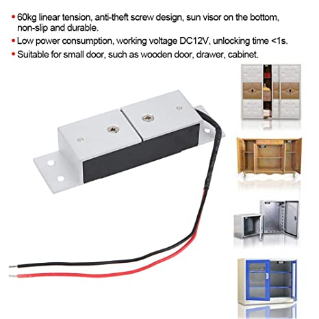 Electromagnetic Lock for Cabinet Villas Drawers Home Security Naroote Linear Tension Durable DC12V 60KG Magnetic Lock