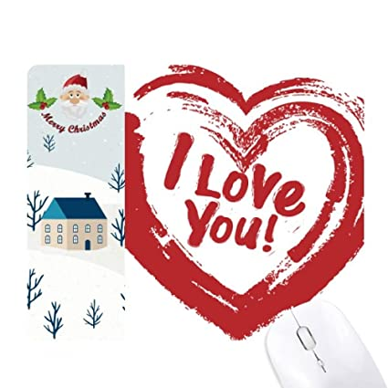 24cd19565 Amazon.com : I Love You Red Heart Pattern Santa Claus House Mouse ...