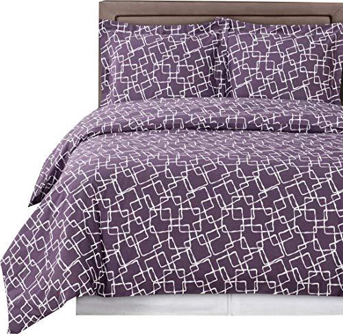 Purple and White Eva 3-piece Full / Queen Duvet Cover Set, 100 % Cotton 300 TC