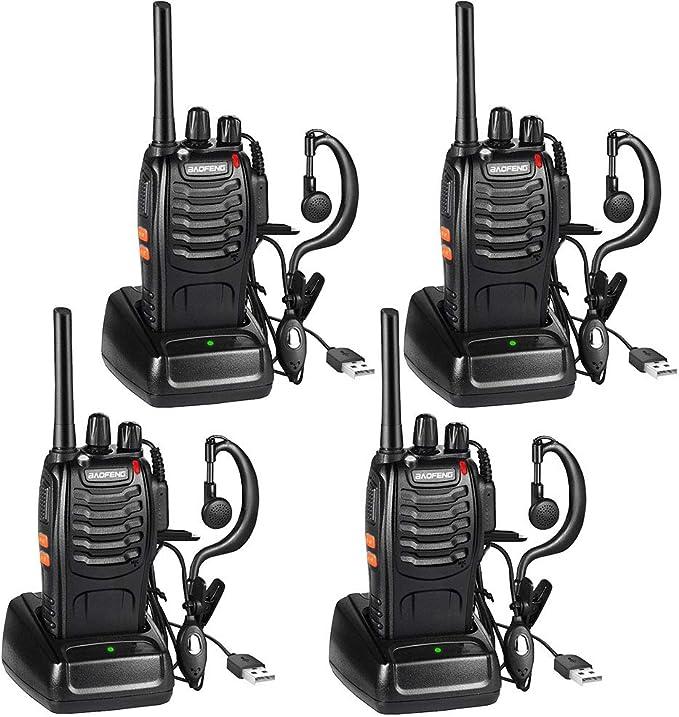 Walkie Talkie Recargable Bidireccional Transmisores-receptores Radio 5W 16 Canales 1500mah CTCSS DCS, con el Auricular Incorporado Antorcha de LED (4PCS)