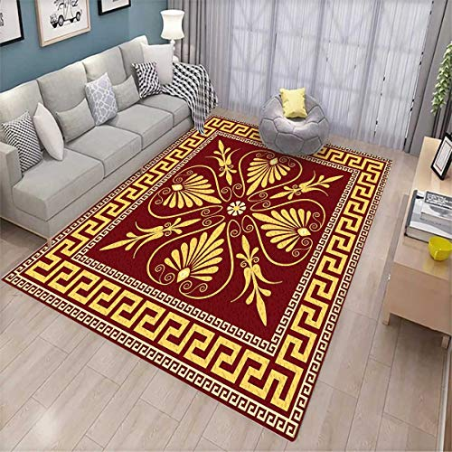 Greek Key Girls Bedroom Rug Old Fashioned Frame Design with The Greek Labyrinth and Curly Leaves Flowers Bath Mats for Floors Ruby Yellow