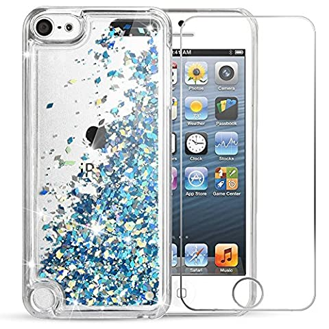 iPod Touch 6 Case, iPod Touch 5 Case, VEGO Bling Glitter Liquid Luxury Sparkle Love Heart Design Case with Floating Shining Quicksand for Apple iPod Touch 5 6th Generation (Ipod 4th Gen Case Blue)