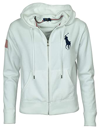 e42ef8f5 RALPH LAUREN Polo Womens Big Pony Fleece Hooded Sweatshirt (X-Small, White)  at Amazon Women's Clothing store: