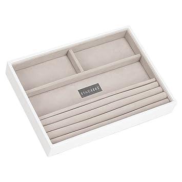 Stackers classic size | caja de la joyería organizador con 4 secciones para los anillos y pulseras, blanco con forro de terciopelo gris: Amazon.es: Hogar