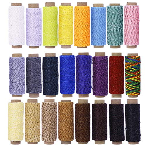 Assorted Color BUTUZE 24PCS 55Yards Leathercraft Waxed Thread-Practical Stitching Thread for Leather Craft DIY/Bookbinding/Shoe Repairing/Leather Projects (Cord Wax Leather)