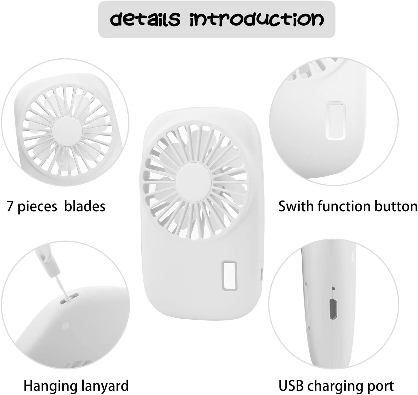 Camping Battery Operated Rechargeable Office AEOSBIK Small Portable Fan Mini Personal Handheld USB Fan for Outdoor Speed Adjustable Room Pink Travel