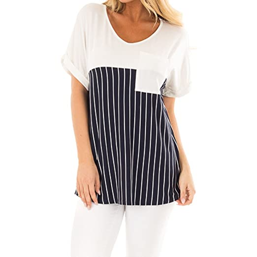 Women Tops Stripe Pocket T-Shirts Tees Casual Tunic Short Sleeve Blouse On Sale Clearance