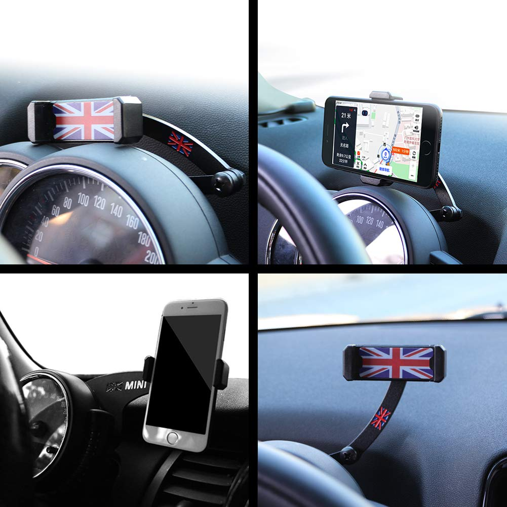 PGONE Behind Tachometer Mount Smart Phone GPS Mounting Design Holder Kit for Mini CooperF54 F55 F56 F57 F60 Union Jack (Red & Blue Union Jack Flag Style) by PGONE (Image #5)