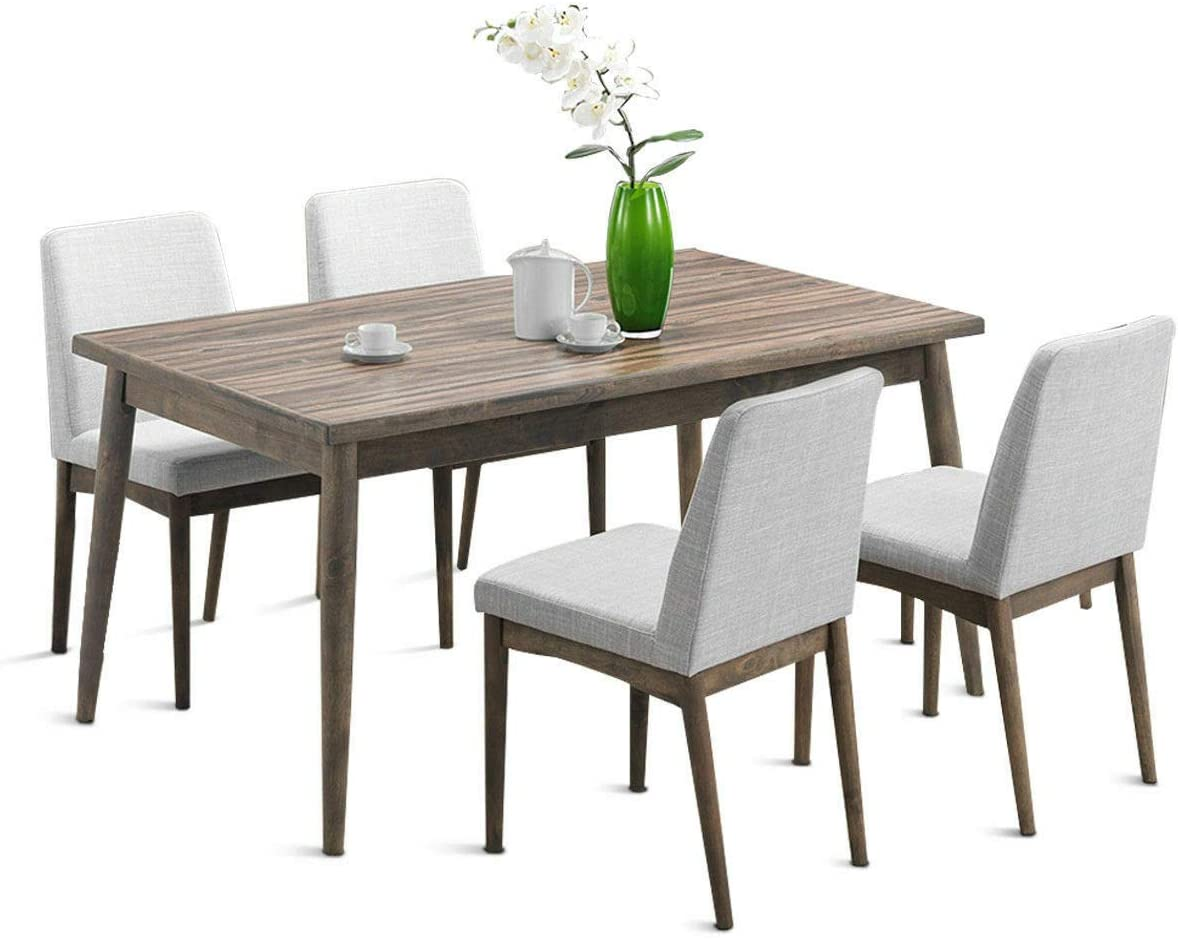 lunanice Home Office Kitchen 5 PCS Dining Table Set Wooden Frame Desk 4 Fabric Upholstered Chair Dining Room breakfast high kitchen table Table 59Lx35.5Wx30.5H inch capacity table 176lbs, chair 220lbs