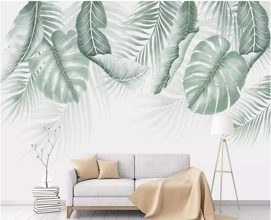 3d Wall Wallpaper Murals Stickers Decorations Abstract Green Broadleaf Simple Living Room Sofa Background Art Kids Room W 300x H 210cm Amazon Com