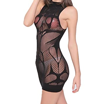 Hot Sale Sexy Women Lingerie Fishnet Mini Dress Sheer See Through Chemise  Baby Doll Bodycon Sleepwear 522d3a25d