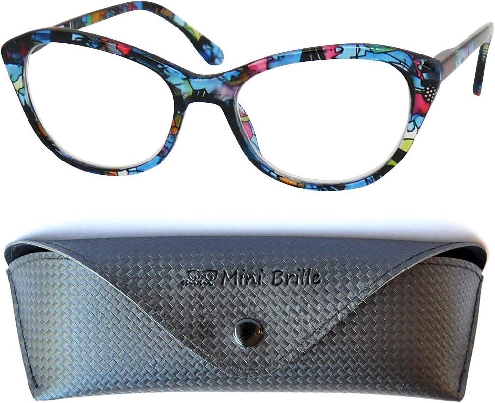 Gafas con Filtro de Luz Azul de Ojo de Gato, Funda GRATIS, Montura de Plástico (Flor Azul), Cat Eye Gafas de Lectura Mujer +2.0 Dioptrías