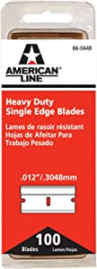American Line 66-0448 Heavy-Duty Single Edge Razor Blades, 100-Pack