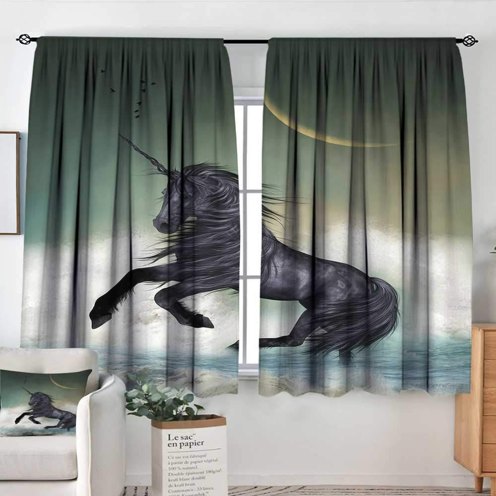 color13 63 W x 72 L Elliot Dgoldthy Sliding Curtains Fantasy,Butterfly Riding A Funny Dragon with Flowers Kids Nursery Cartoon,Army and Olive Green bluee,Thermal Insulated Light Blocking Drapes for Bedroom 42 x54