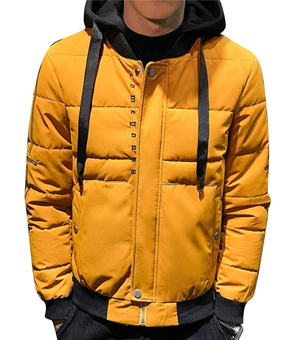 pipigo Men Thickened Winter Full-Zip Warm Hooded Down Quilted Coat Jacket Outerwear