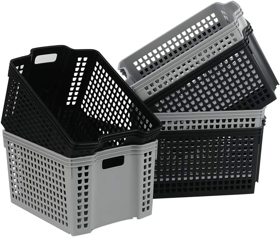 Obston Plastic Baskets Bin, Stacking Basket with Handle, 6 Packs
