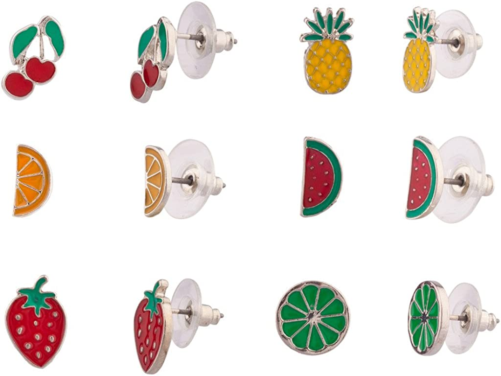 Lux Accessories Women's Enamel Tropical Fruit Multiple Stud Earrings Set (6pcs)
