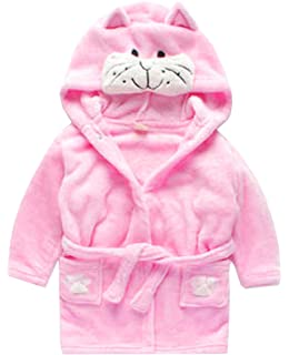 06bd5ec74 Amazon.com  Toddler kids Hooded Plush Robe Animal Fleece Bathrobe ...